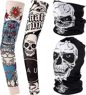 Jovitec 2 Fake Temporary Sunscreen Arm Tattoo Sleeves and 2 Halloween Face Mask