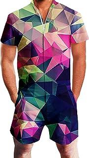 RAISEVERN Mens Zip up 3D Graphic Printed Designer Overall Jumpsuit Short Sleeve Jumpsuits Cool Design Short Cargo Pants Ro...