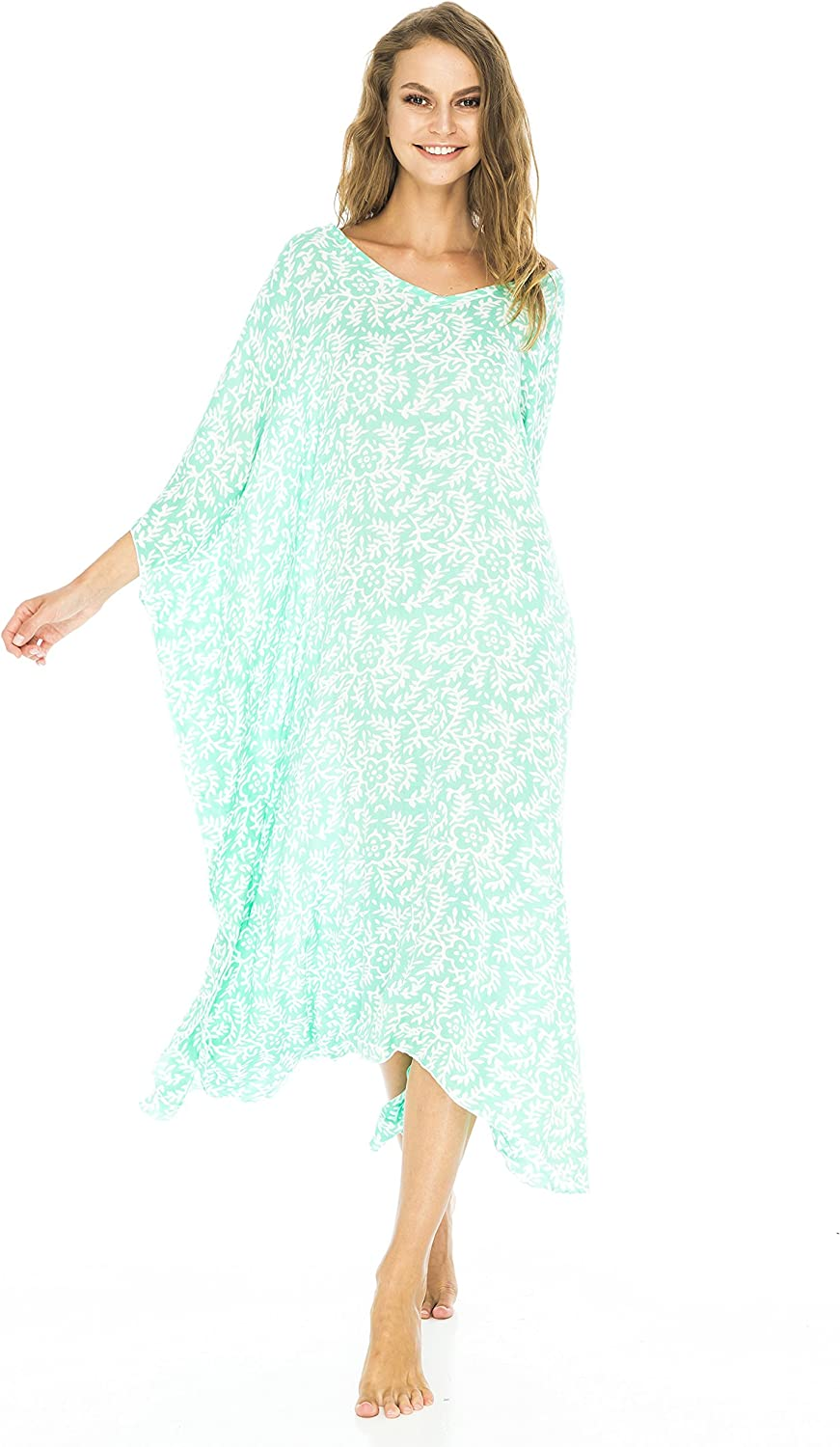 Back From Bali Womens Loose Maxi Long Beach Dress Cover Up Caftan Floral