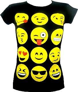 9d4d644dc3e2b Fashion Oasis kids enfants filles EMOJI émoticônes smiley divers visages  multiples courtes manches tops t-