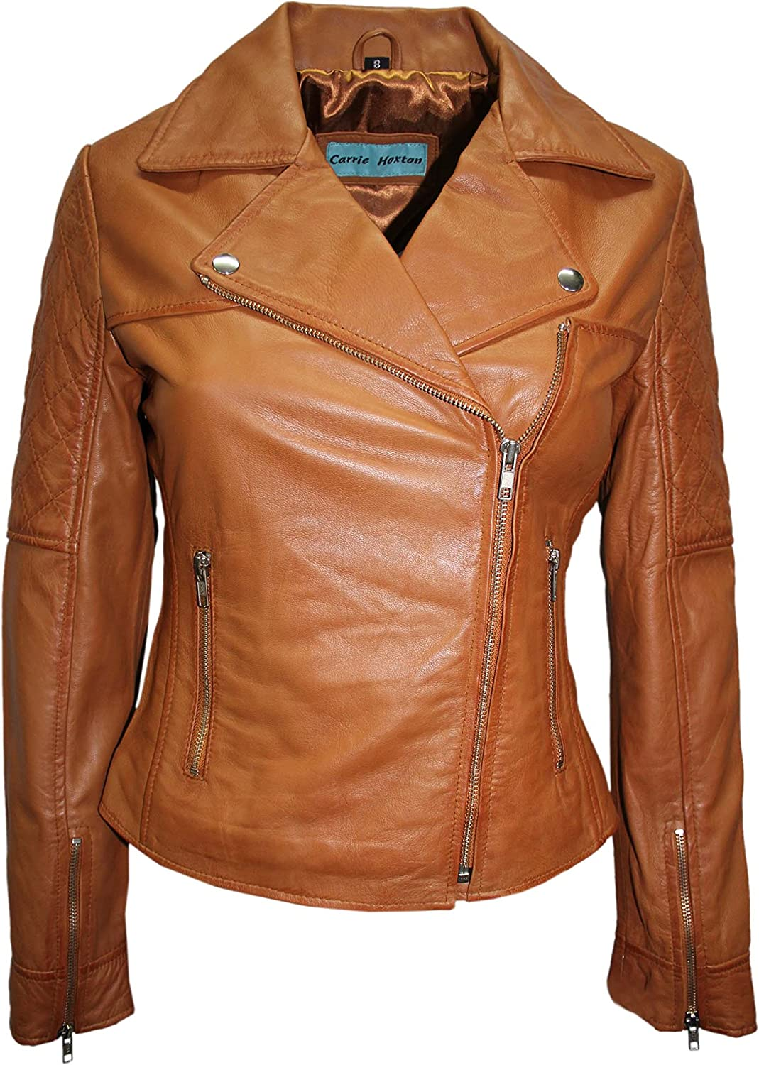 1075 Ladies Tan Model Fitted Padded Sleeves Designer Biker Style Leather Jacket