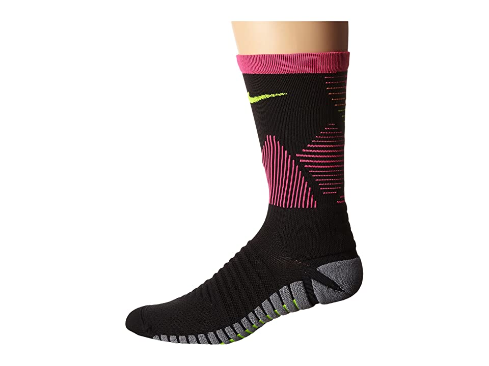 Nike Strike Mercurial Soccer (Black/Hyper Pink/Volt) Crew Cut Socks Shoes