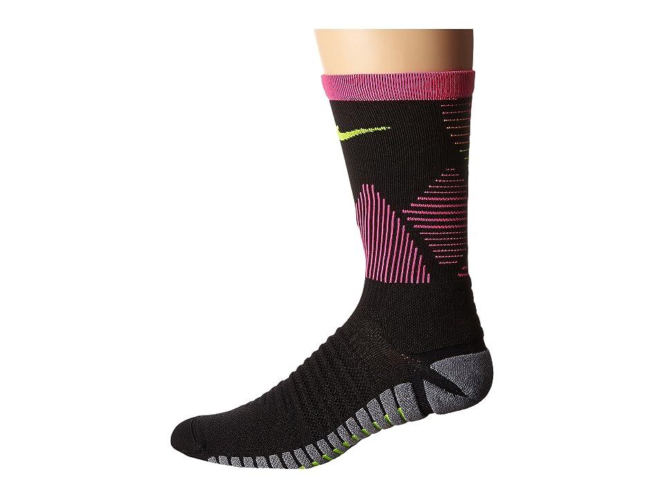 Nike Strike Mercurial Soccer (Black/Hyper Pink/Volt) Crew Cut Socks Shoes