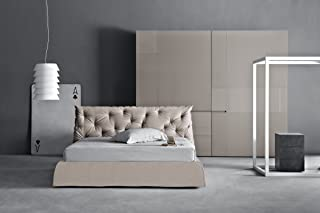 Impunto: Upholstered Modern Queen Size Platform Bed with Tufted Headboard. Removable Cover. Made in Italy.