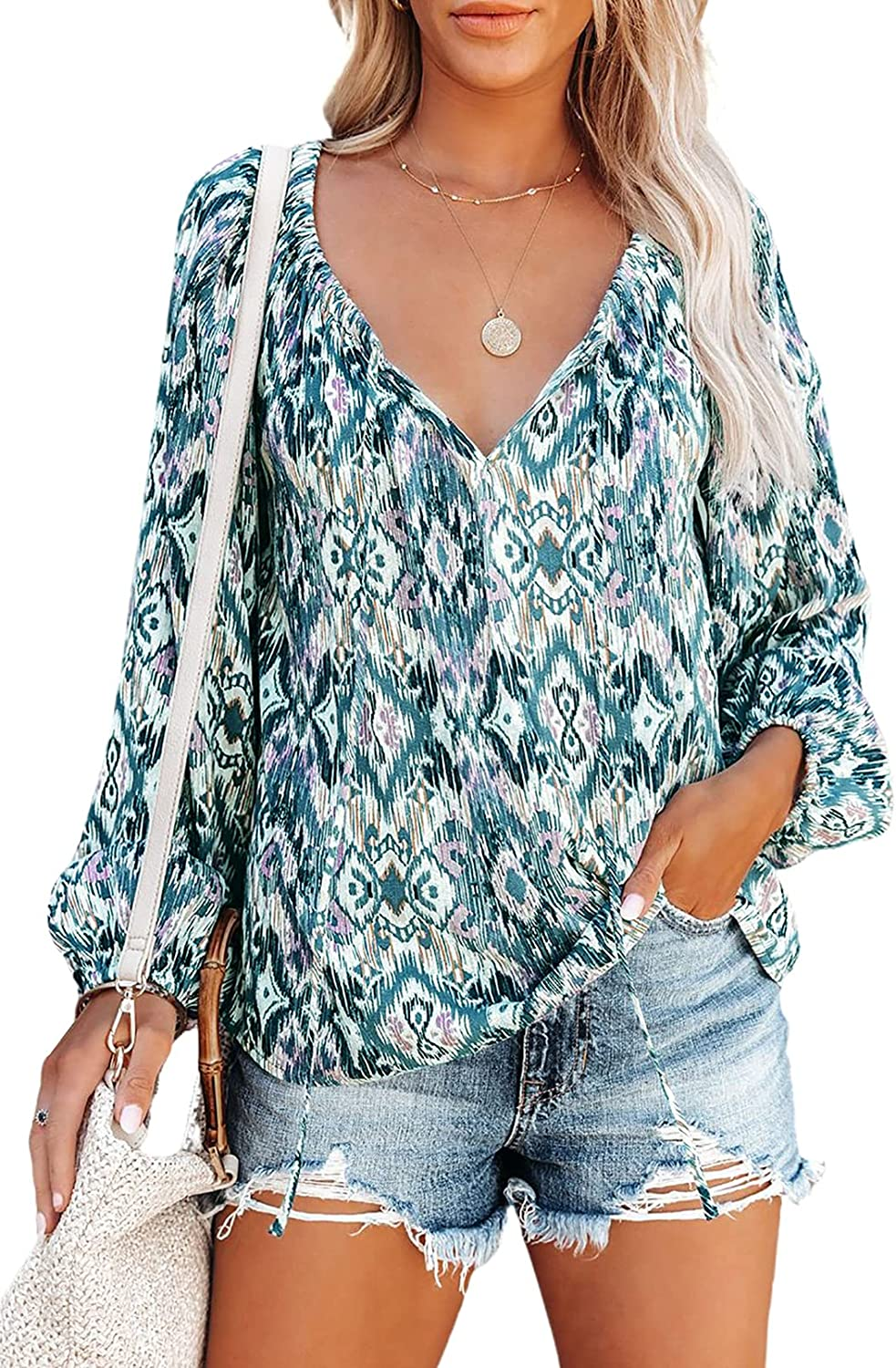 HOTAPEI Women's Casual Fashion Printed Shirt Long Sleeve V Neck Pullover Top Blouse Tees Shirts