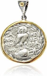 Joyasantiguas - Colgante de Plata Moneda Dorado/oxido Lechuza grande