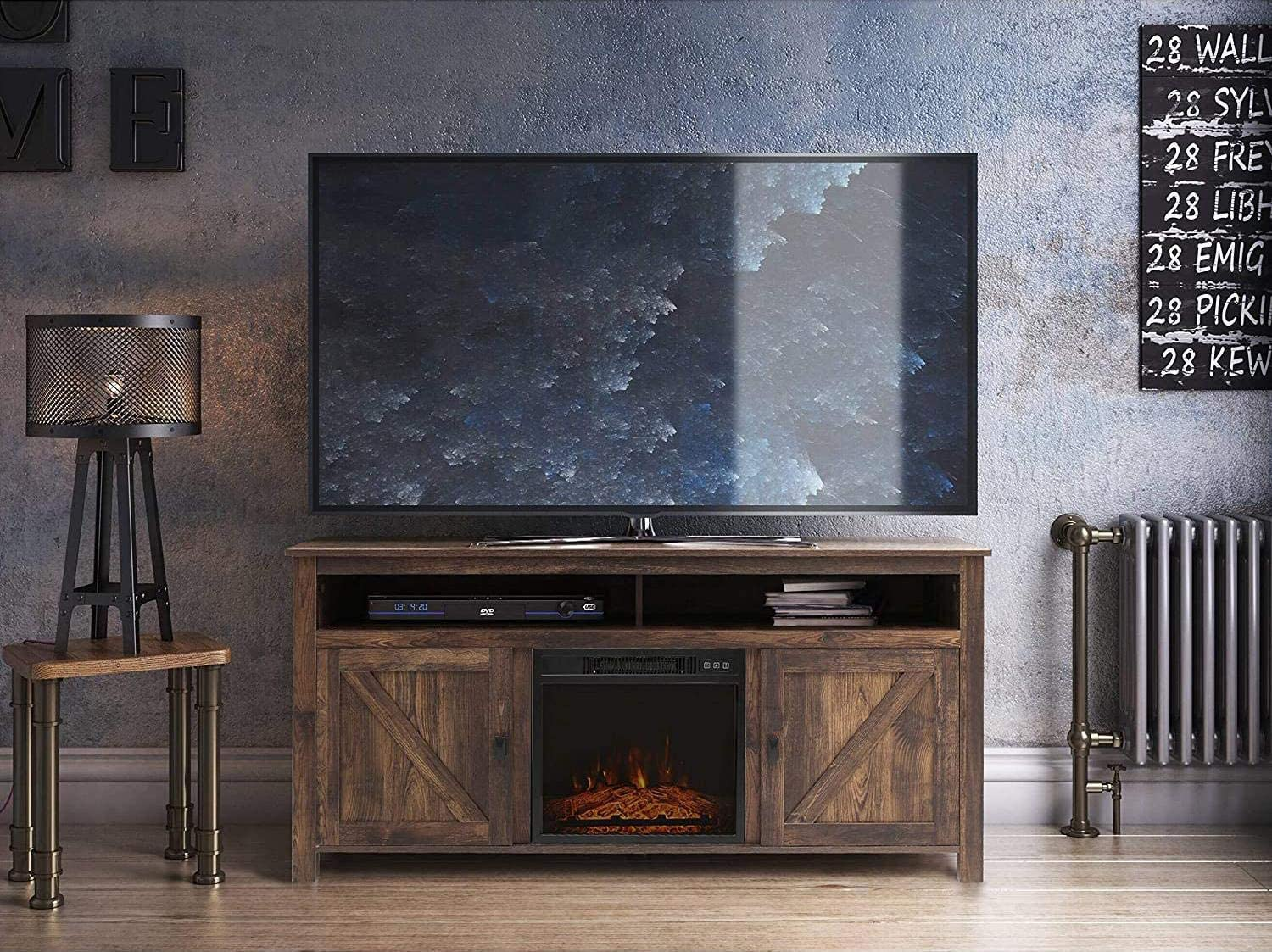 Fireplace TV Stand Wood 数量は多 Entertainment Me Center Wide 大人気 Farmhouse