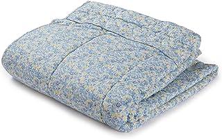 肌布団 綿 布団 シングル 日本製 やさしい肌触りの春夏用の綿わたの肌布団 母の日のプレゼントに ガーデン ブルー コルチカム