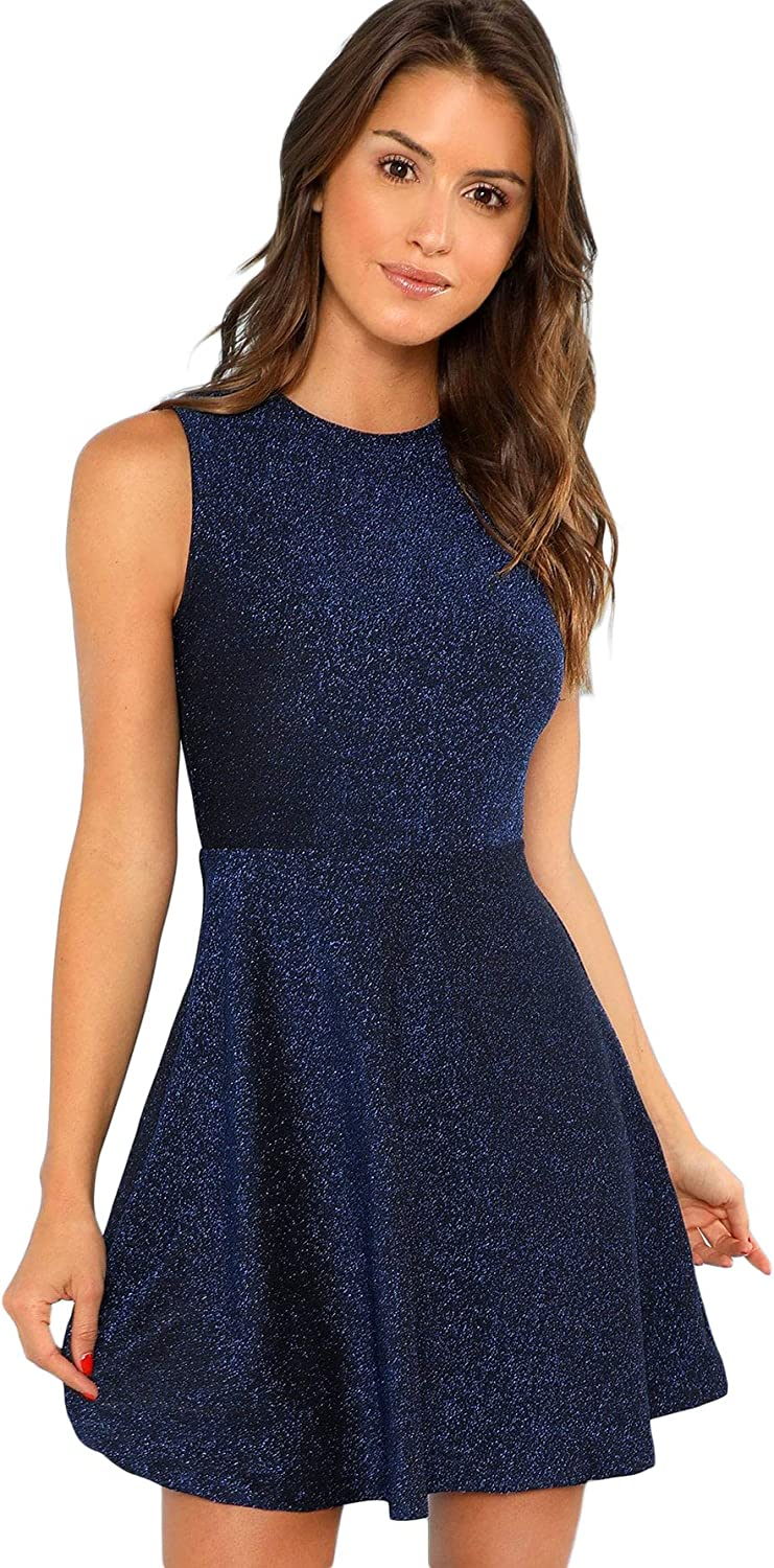 DIDK Women's Sleeveless A Line Fit and Flare Glitter Above Knee Party Cocktail Skater Dress
