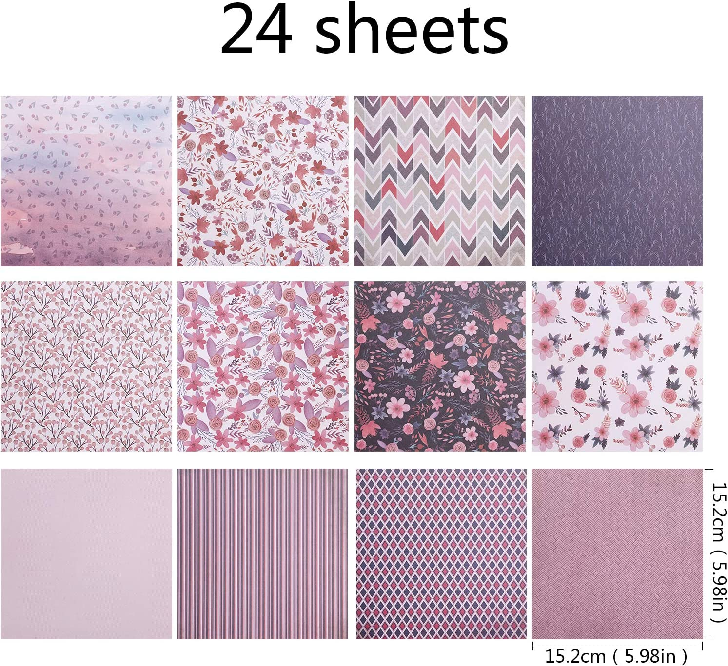 Hileyu 24pcs Patterned Paper Card Making 6 inch Single-Sided Scrapbook Paper Pad Decorative Paper Background Card Cardstock Paper for Craft Scrapbook Variety Styles DIY Scrapbook Paper Purple