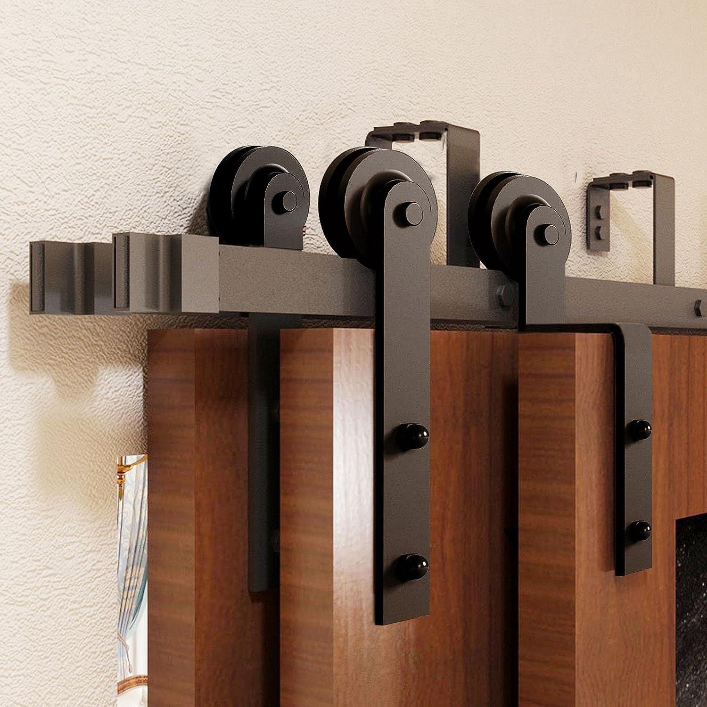 Homacer Black Rustic Triple Max 79% OFF Bypass Sliding Door Ki Barn Hardware Now free shipping