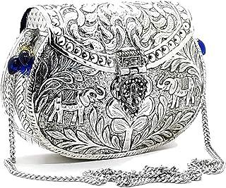 Trend Overseas Ethnic Silver Women gift Brass Metal bag Bridal Clutch Girls Party Purse