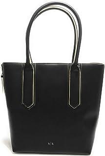 A|X Armani Exchange Logo Zipper Large Soft Eco Nappa Leather Shopping Bag