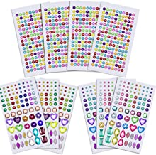 Anezus 1126Pcs Rhinestone Stickers Self-Adhesive Bling Craft Jewels Crystal Gem Stickers for Nail, Body, Makeup, Festival, Assorted Sizes and Shapes, 10 Sheets