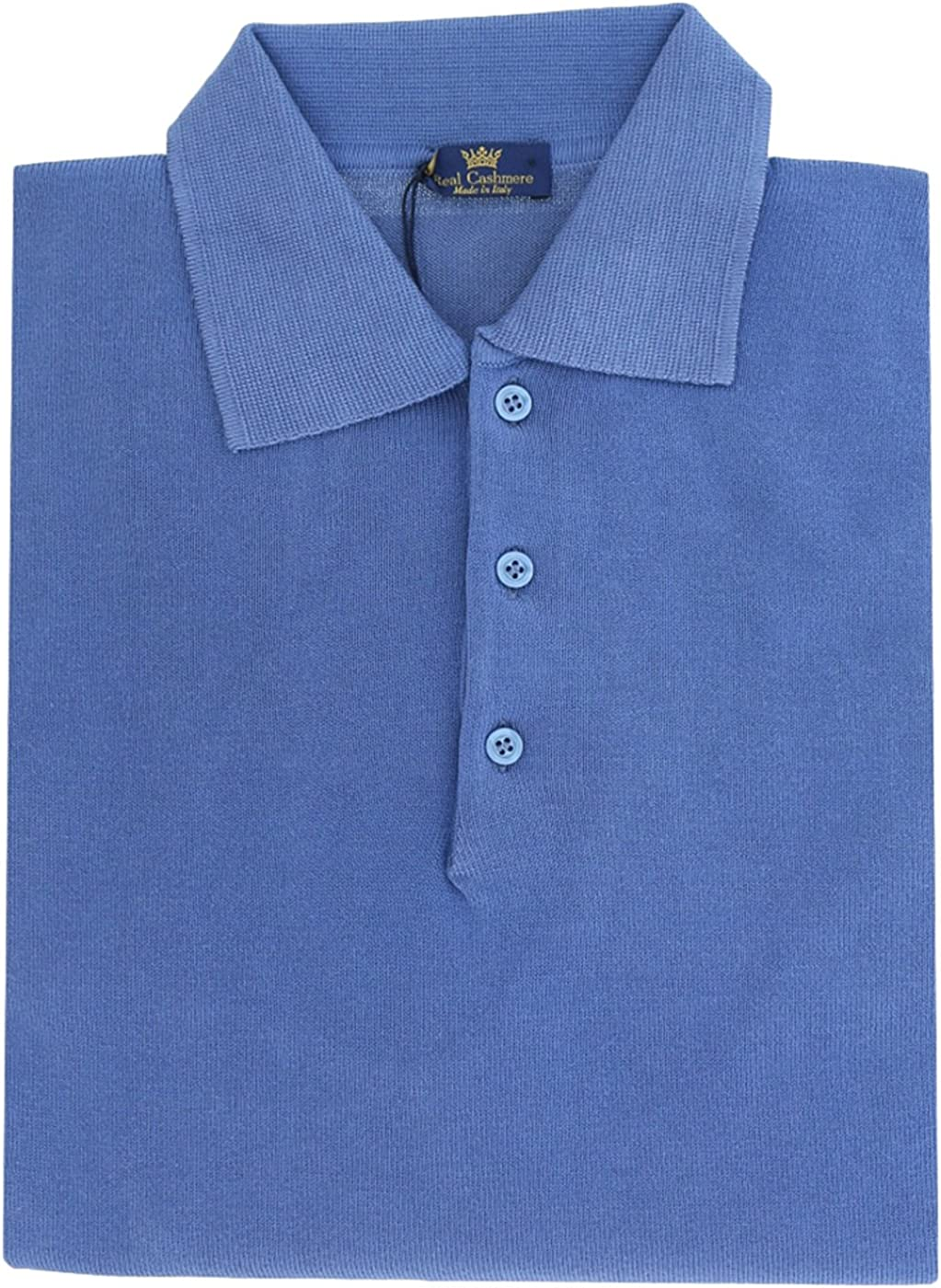 Real Cashmere Cotton-Modal Blend Polo Big Mens Denim Blue Sweater for Mens