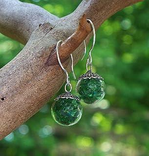 Recycled Vintage 1960's Green Beer Bottle Glass Orb Earrings