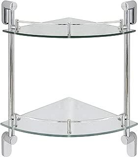 MODONA Double Corner Glass Shelf with Pre-Installed Rail - Polished Chrome - Oval Series - 5 Year Warrantee