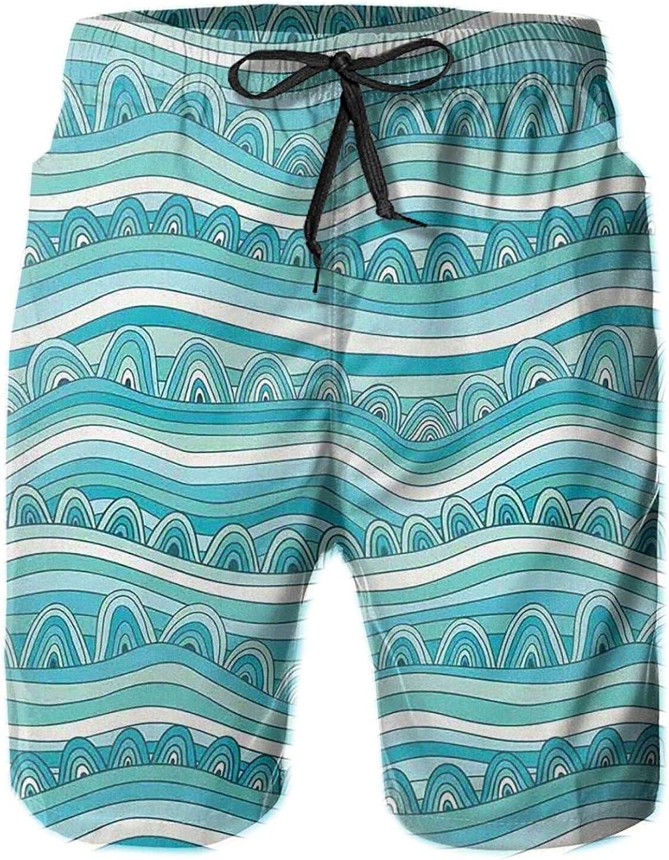 Hand-Drawn Style Wave Pattern Sea Inspired Ocean Ornament Printed Beach Shorts for Men Swim Trucks Mesh Lining,M
