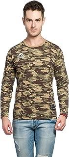 Alan Jones Military Camouflage Men's Applique Round Neck Full Sleeve Cotton T-Shirt