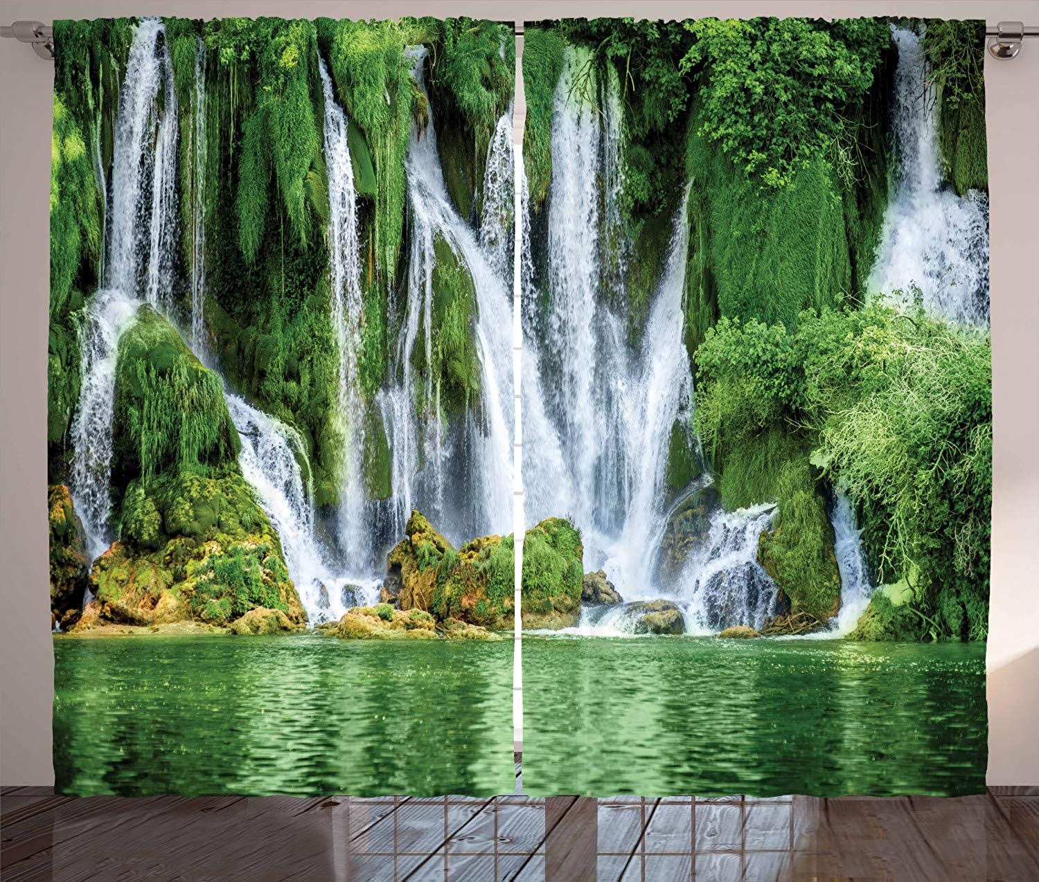Ambesonne Waterfall Decor Collection, Moss Greenery Reflection on River Landmark in Bosnia and Herzegovina Picture, Window Treatments, Living Room Curtain 2 Panels Set, 108 X 90 Inches, Green White