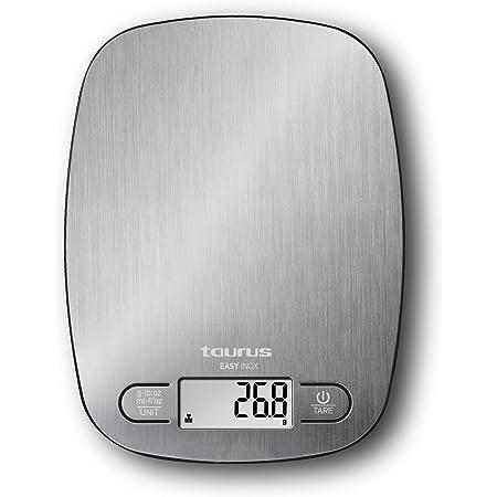 Taurus Easy Inox - Báscula de cocina digital de capacidad 5 kg, función tara, 4 sensores de precisión, color plateado