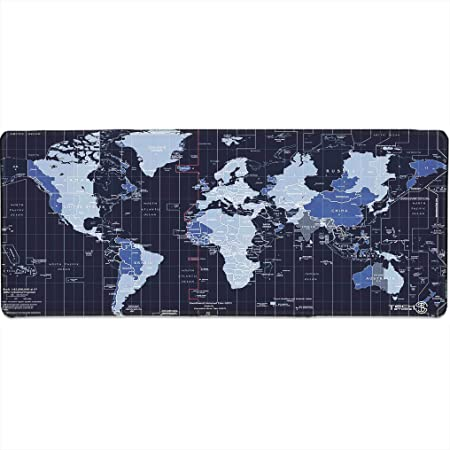 Tech Stor3 Alfombrilla XL con mapa del mundo azul para videojuegos, 80 x 30 cm, con base antideslizante de goma natural, adherente y liso, apta para ...