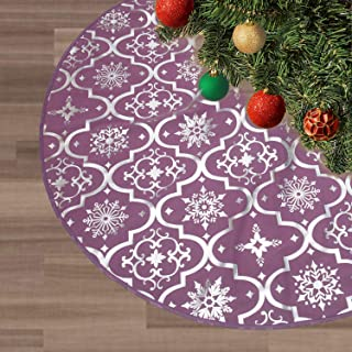 FLASH WORLD Christmas Tree Skirt,48 Inches Knitted Knit Thick Cotton Tree Skirt with Snowy Pattern for Christmas Decorations (Violet, Silver hot Stamping)