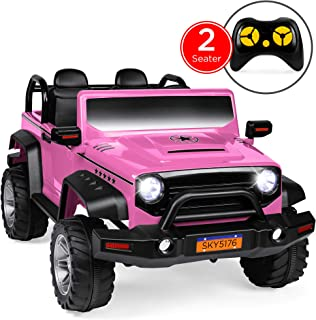 Best Choice Products Kids 12V RC 2-Seater Ride-On Truck with, LED Lights/Sounds, MP3, Pink
