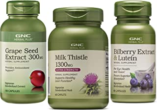 GNC Herbal Plus Herb Bundle - Grape Seed Extract 300mg, Milk Thistle 1300mg and Bilberry Extract & Lutein - Supports Eye a...