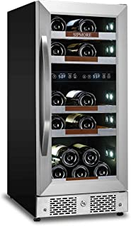 Sipmore Wine Cooler Refrigerator 15'' Dual Zone 21 Multi Sized Bottle Built-in or Freestanding with Seamless Stainless Steel and Smart Temperature Memory System with Stage LED Design