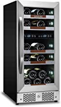 Sipmore Wine Refrigerator Cooler 15 inch Dual Zone 21 Multi Sized Bottle Built-in or Freestanding with Seamless Stainless Steel and Smart Temperature Memory System
