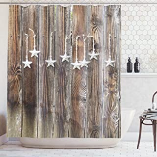 Ambesonne Primitive Country Shower Curtain, Grey Colored Ornate Stars on Wooden Rustic Fence Cabin Design Print, Cloth Fabric Bathroom Decor Set with Hooks, 105