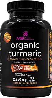 Organic Turmeric Curcumin with Ginger and Black Pepper - 2250mg Highest Potency & Bioavailability with 95% Standardized Cu...