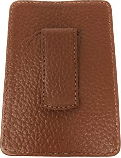 Cole Haan Pebbled Leather Money Clip Wallet Brown