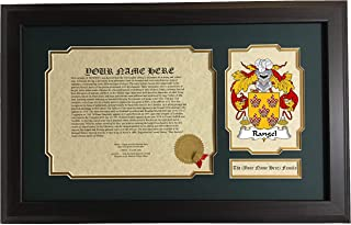 Rangel - Coat of Arms and Last Name History, 14x22 Inches Matted and Framed