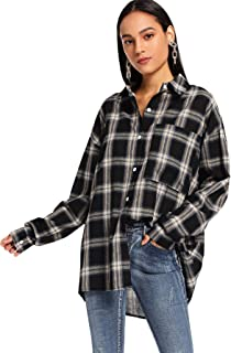 Women's Long Sleeve Collar Long Button Down Plaid Shirt Blouse Tops