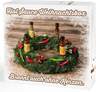 Mexican Tears - Hot Sauce Weihnachtsbox, Chili Sauce aus Habanero Chili, Chipotle & Meersalz, perfekt zum BBQ, Pulled Pork und zum Würzen 4x100ml scharfe Sauce