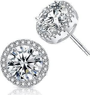 Halo CZ Stud Earrings - 18K Gold Plated Round Cubic Zirconia Stud Earrings For Women Girls