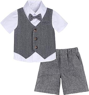 mintgreen Conjunto Camisa de Manga Corta Bebé Niños, Traje Caballero con Pajarita Chaleco, 3 Piezas Tamaño: 1-5 Años