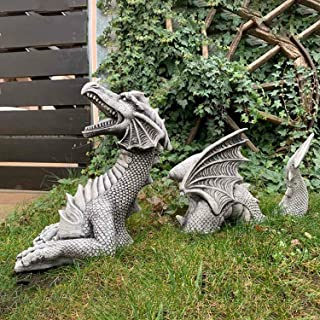 The Dragon of Falkenberg Castle Moat Lawn Statue, Dragon Gothic Garden Decor Statue 3 Piece, Indoor Outdoor Garden Decor S...