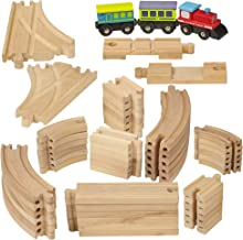 Dragon Drew Wooden Train Tracks - 55 Piece - Compatible with Brio, Thomas, Chuggington and All Major Brands – Accessories and Expansion Kit Includes 52 Tracks and 3 Cute Cars