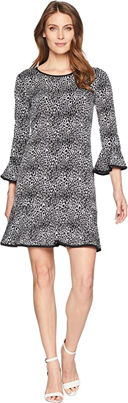 Wavy Leopard Flounce Dress