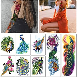 Leoars Arm Sleeve Temporary Tattoos, Fake Peacock Half Arm Tattoos and Full Sleeves Tattoo Sticker for Women Men Makeup, 8-Sheet