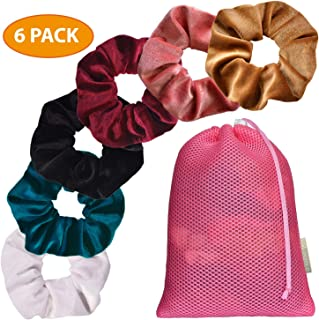 ONZOLO Velvet Scrunchies For Hair - Hair Accessories For Women and Girls, Hair Ties for Thick Hair, Velvet Scrunchie, Hair Bands, Women's Hair Elastics, Little Girl Hair Accessories, Headband (6 pack)