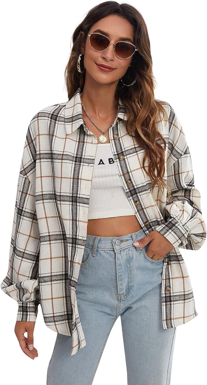 Verdusa Women's Drop Shoulder Lantern Sleeve Plaid Button Down Shirt Blouse