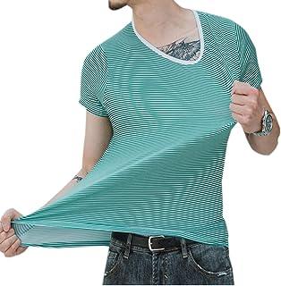 """Elonglin Men's Soft T-Shirt Short Sleeve Crew Neck Basic Striped Tees Summer Modal Tops Blouse Stripe 2 Green Bust 42.5""""(A..."""