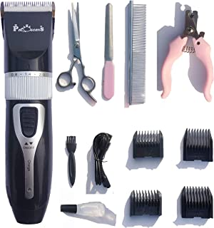 PetOscars Dog Grooming Kit Professional – Quiet Electric Clippers, Heavy Duty Shaver, Cordless Hair Shears for Small Dogs, Rabbits and Other Pet (Black)