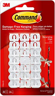Command Decorating Clips, White, 20-Clips (17026-ES), Decorate Damage-Free