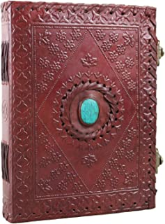 Leather Journal with Stone Unlined Notebook Diary Sketchbook 6 X 8 Inches by Ferus & Fivel (Turquoise)