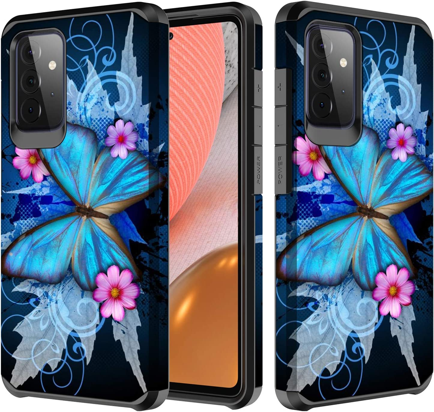 Galaxy Wireless Cases Compatible for Samsung Galaxy A32 w[Tempered Glass Screen Protector] Cute Girls Women Glitter Protective Phone Cover Cases - Blue Butterfly